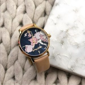 Kate Spade Going Places World Map Leather Watch
